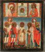 210: A RUSSIAN ICON: Selected Saints, 18th century. Th
