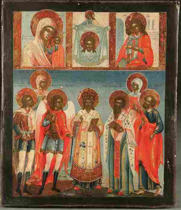 A RUSSIAN ICON: Selected Saints, 18th century. Th