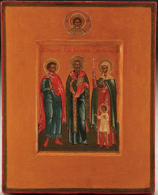 A FINE RUSSIAN ICON: Selected Saints, circa 1890