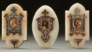 481 3 ENAMELHAND PAINTED PORCELAIN HOLY WATER FONTS