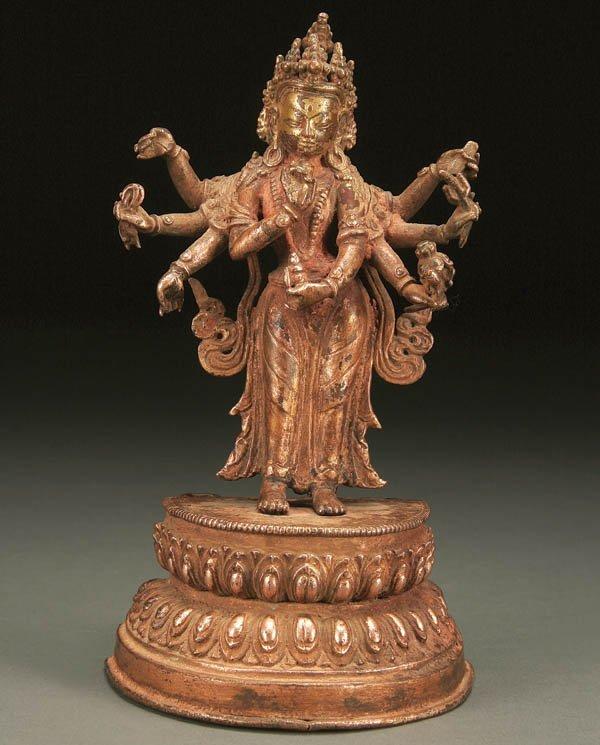768: CHINESE FIGURE OF A SHAKYAMUNI CROWNED BUDDHA