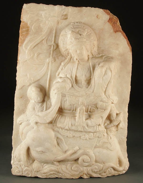 778: A CHINESE CARVED MARBLE RELIEF BODHISATTVA