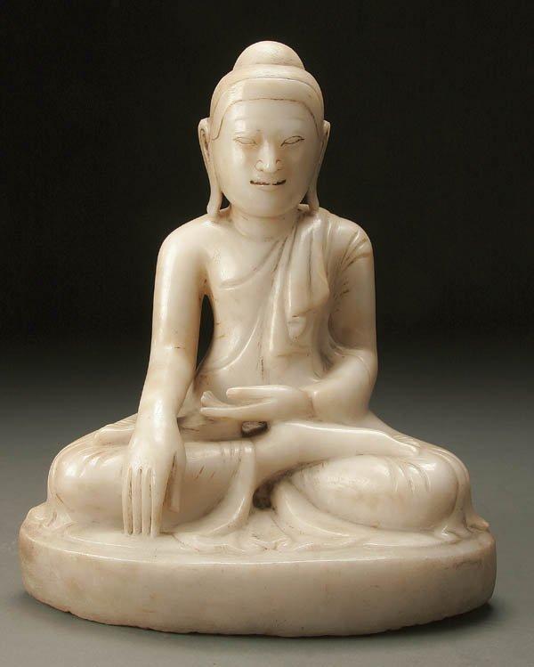 779: ALABASTER FIGURE OF BUDDHA BURMESE 18th century