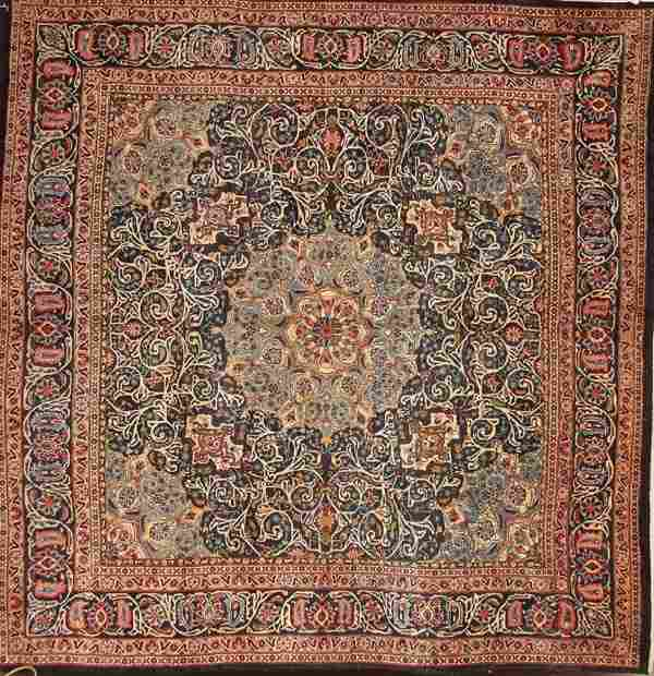 A LARGE ROOM SIZE TABRIZ HAND WOVEN ORIENTAL RUG