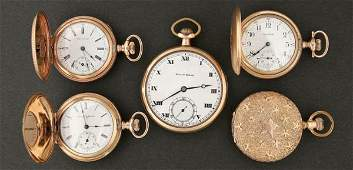 1407 A GROUP OF FIVE GOLD FILLED POCKET WATCHES early