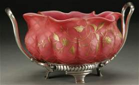 1447: VICTORIAN BRIDES BOWL MOTHER OF PEARL GLASS AND S