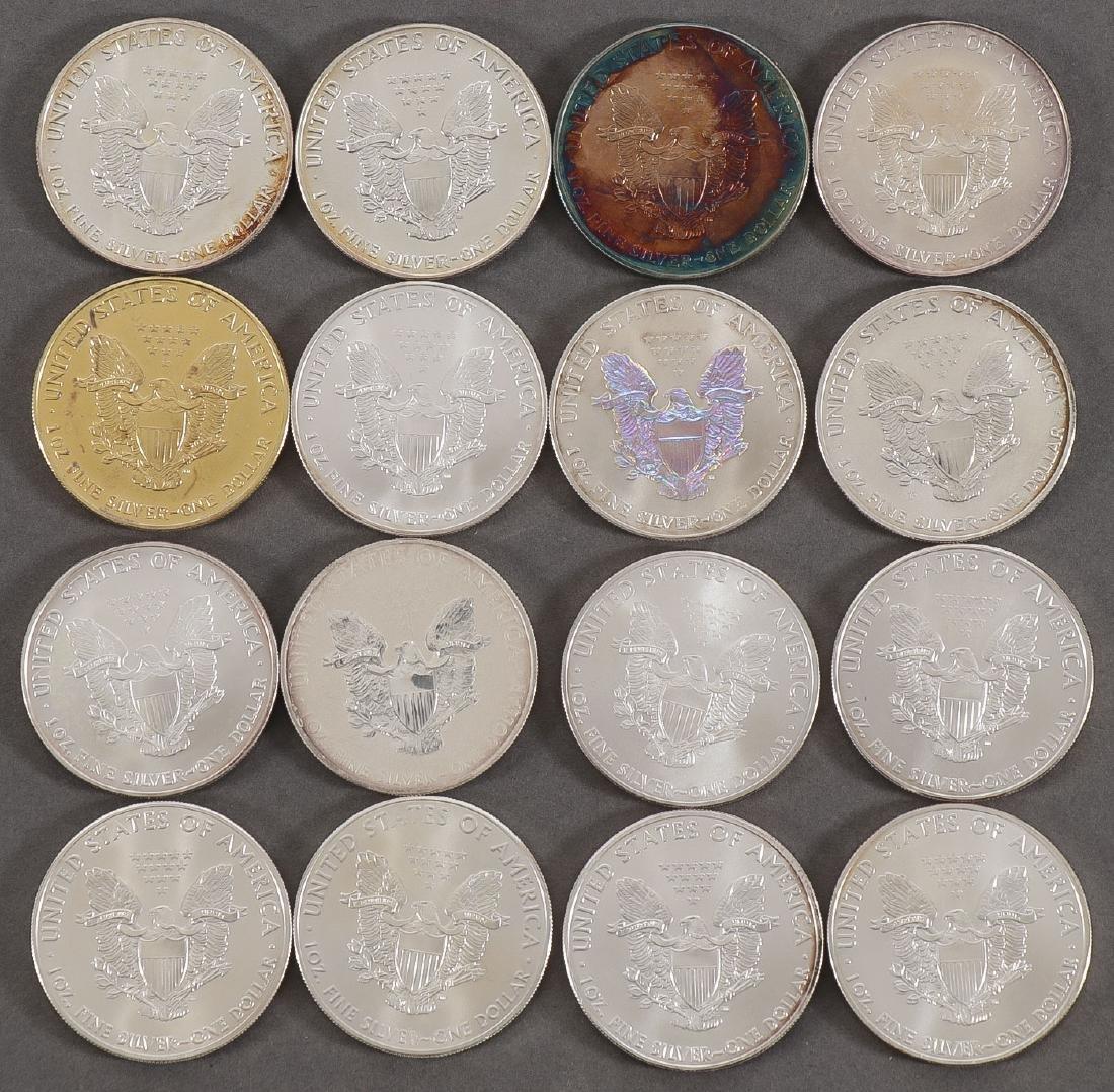 16 SILVER EAGLE DOLLARS - 2