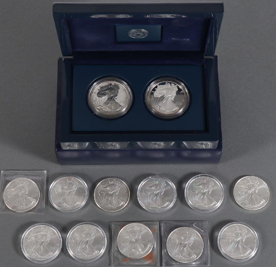 13 SILVER AMERICAN EAGLE DOLLARS