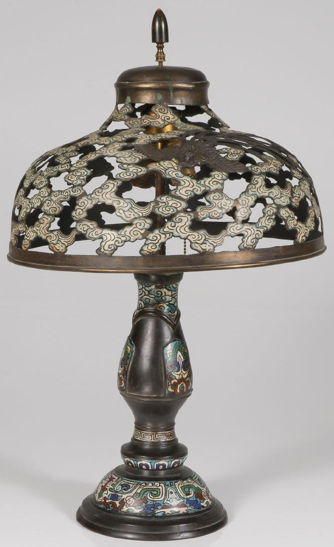 A CHINESE BRONZE AND ENAMELED TABLE LAMP