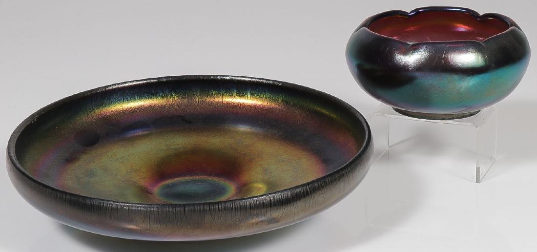 TWO ART GLASS BOWLS