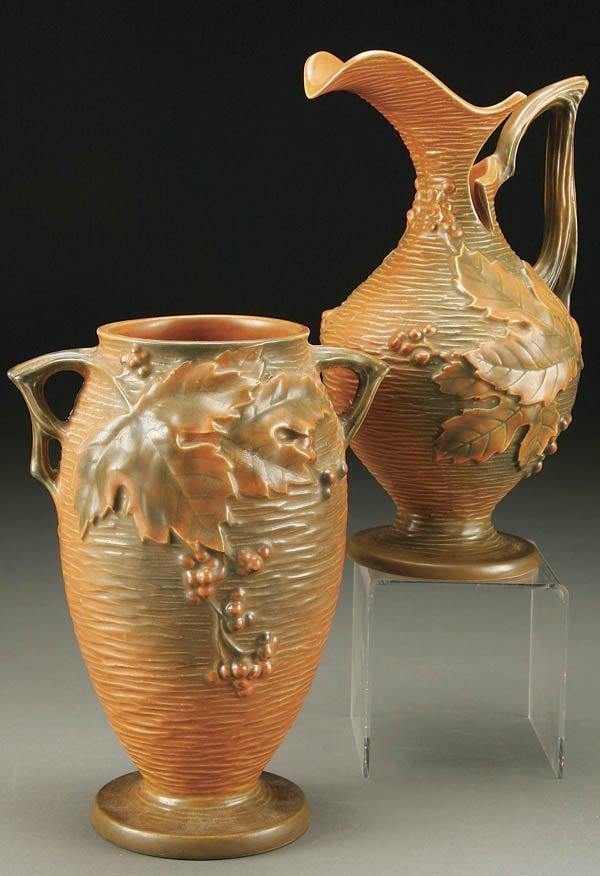 14: TWO ROSEVILLE BUSHBERRY POTTERY ITEMS; both in ci