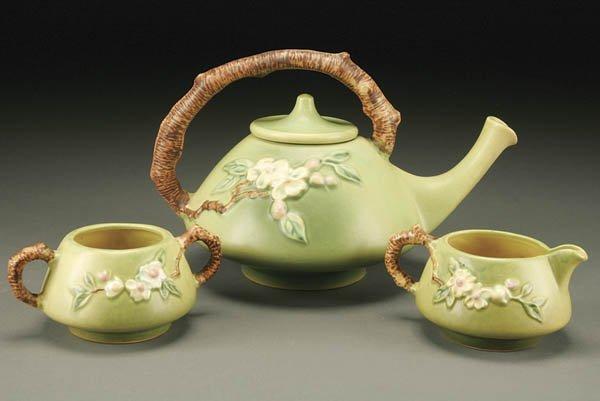 15: ROSEVILLE APPLE BLOSSOM POTTERY TEA SET; green co