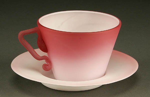 865: A NEW ENGLAND PEACH BLOW CUP AND SAUCER late 19th