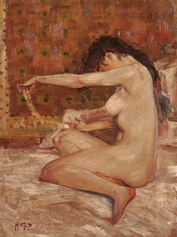 1077: RUSSIAN SCHOOL (20th century) A Nude, Oil on wood