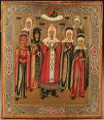 1099: RUSSIAN ICON: SELECTED SAINTS, circa 1890. Includ