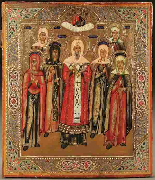 RUSSIAN ICON: SELECTED SAINTS, circa 1890. Includ
