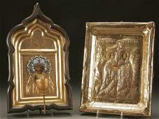 1121 RUSSIAN AND GREEK ICON a pair circa 1890s A R