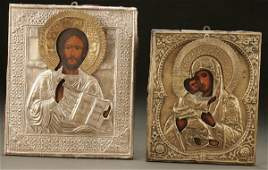 1123 RUSSIAN ICONS a pair 19th century Christ as th