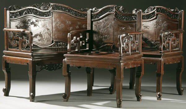 1286: A CHINESE CARVED WOOD PARLOR GROUP 20th century w