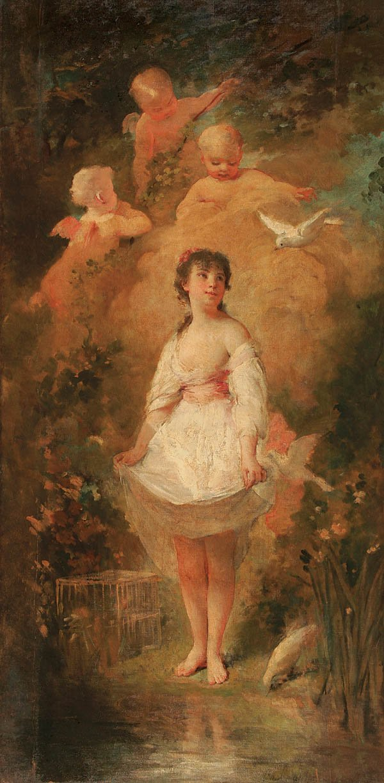 2: CHARLES CHAPLIN (French 1825-1891) Love Birds Oil