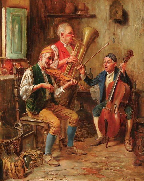 9: ANTONIO ZOPPI (Italian 1860-1926) The Vino Trio O