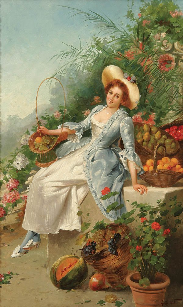 11: G. ALIBERT (French 19th century) A Beauty Oil on