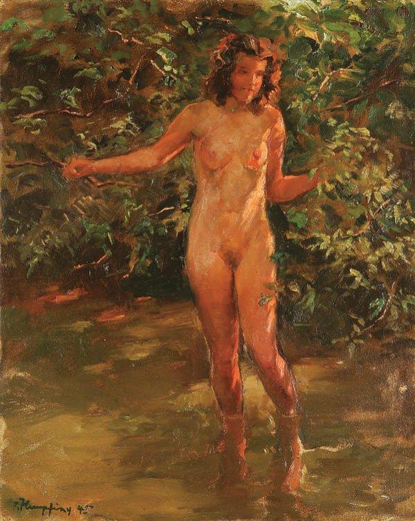 14: WILHELM HEMPFING (German 1886-1951) Nude Bather -