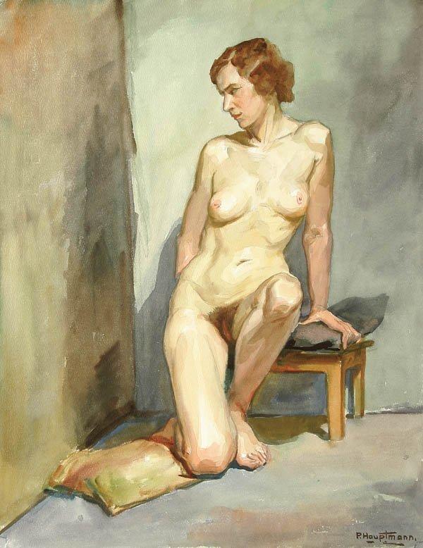 16: PAUL HAUPTMANN (German 1887-1940) A Seated Nude W