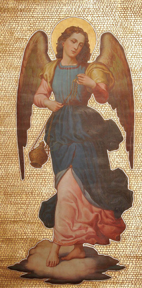 Religious oil painting angel group of four large