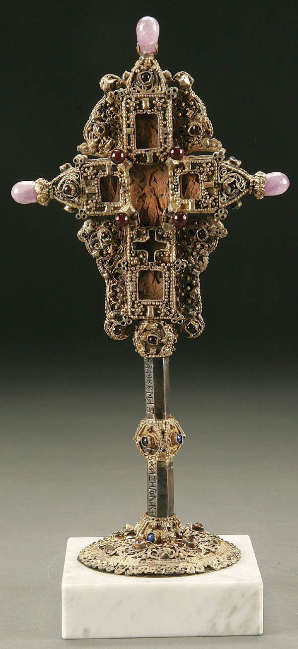 Greek orthodox carved wood cross old with filigree