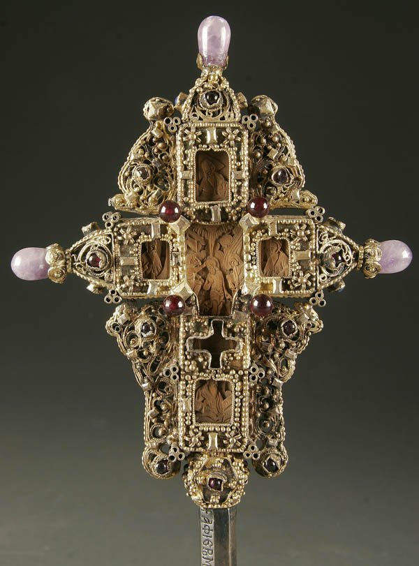 Greek orthodox carved wood cross old with filigree - 2