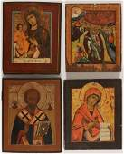 FOUR RUSSIAN ICONS 19TH CENTURY