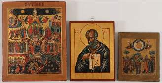 THREE RUSSIAN ICONS, 2ND HALF 20TH CENTURY