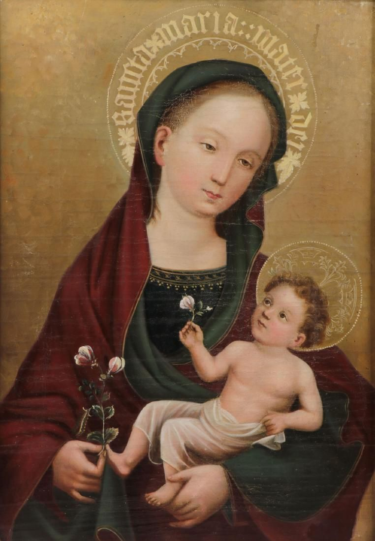 GOTHIC STYLE MADONNA AND CHILD PAINTING, 19TH C
