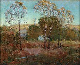 GRANT WOOD (American 1892-1942), Windmill, oil on