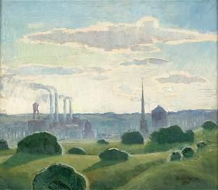 GRANT WOOD (American 1892-1942) Industrial Landsc