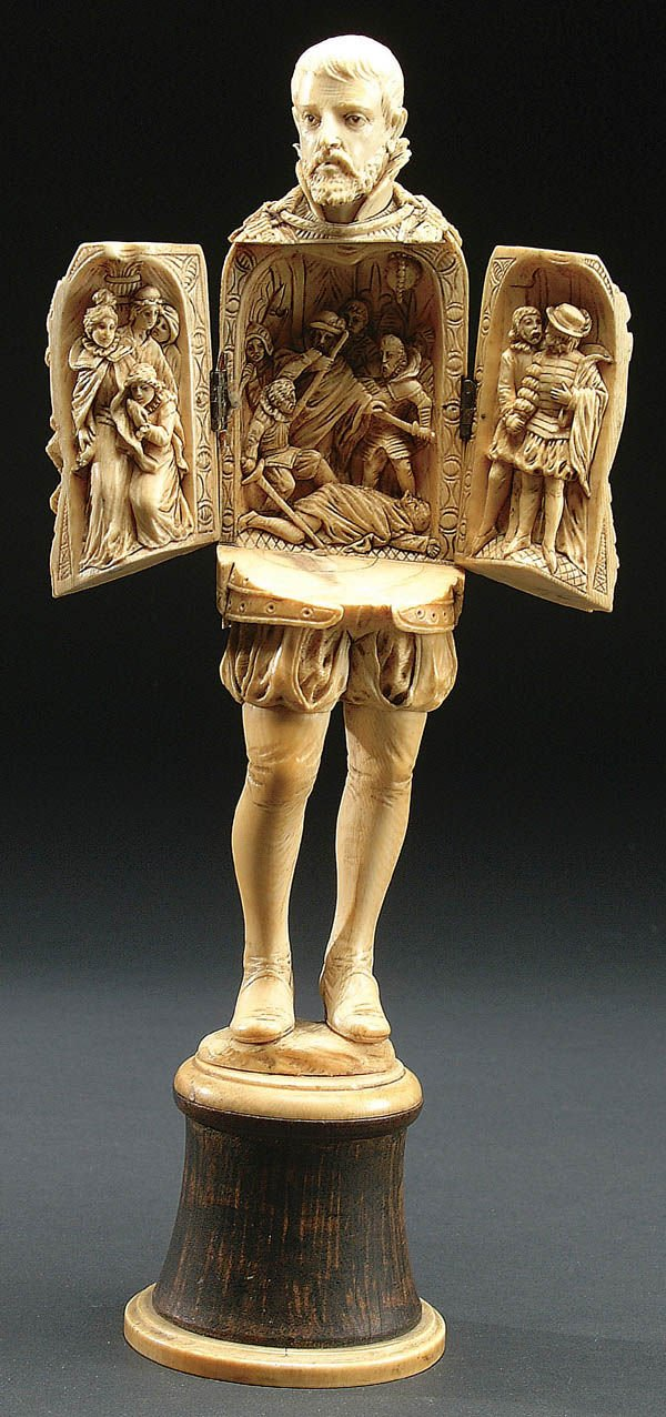 214: A VERY FINE SIGNED AND DATED FRENCH CARVED IVORY