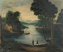 620: AMERICAN SCHOOL (19th century) Naive Landscape wi
