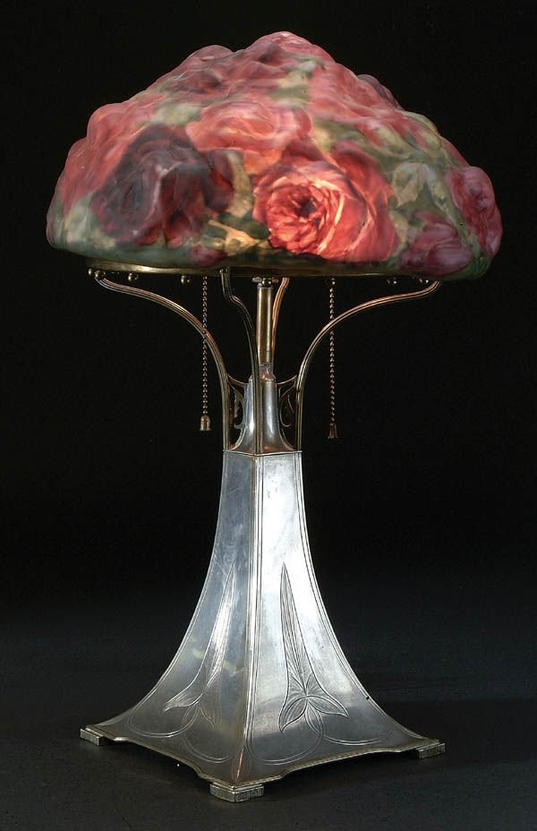 654: A FINE PAIRPOINT PUFFY ROSE BOUQUET LAMP C. 1910.