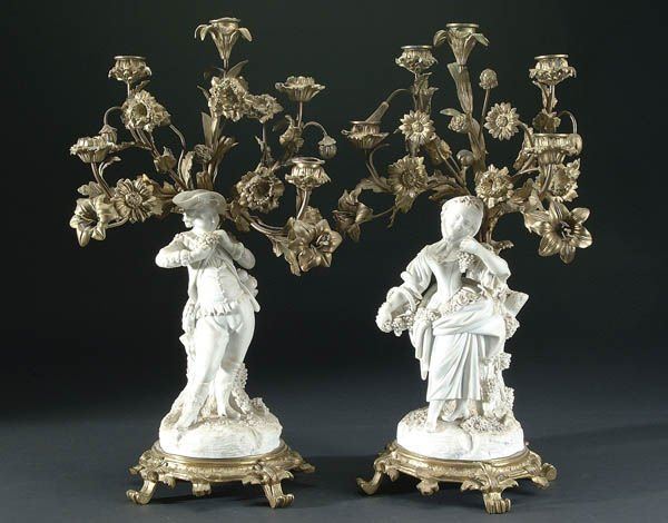 663: A PAIR OF FRENCH FIGURAL BISQUE AND GILT BRONZE C