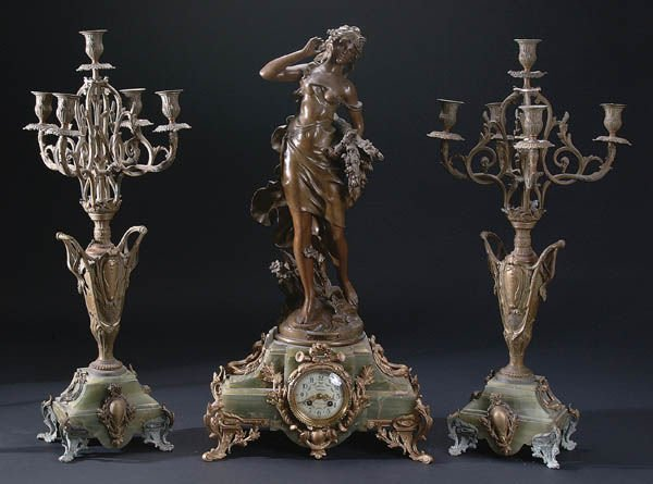 664: A LARGE AND IMPRESSIVE FIGURAL FRENCH GARNITURE C