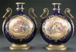 735 A FINE PAIR OF FRENCH SEVRES STYLE PORCELAIN AND