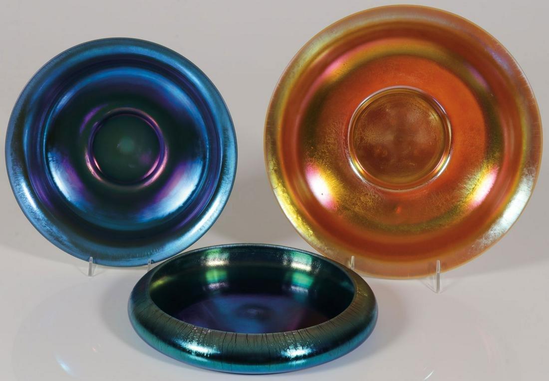 THREE STEUBEN AURENE GLASS BOWLS