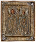 A FINE RUSSIAN ICON OF SELECTED SAINTS, C 1800