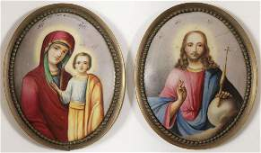 RUSSIAN ENAMELED ICONS 19TH CENTURY