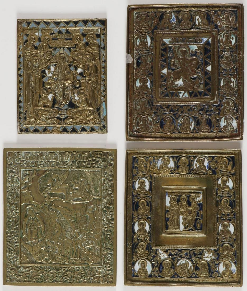 FOUR RUSSIAN CAST BRASS ICONS, 19TH CENTURY