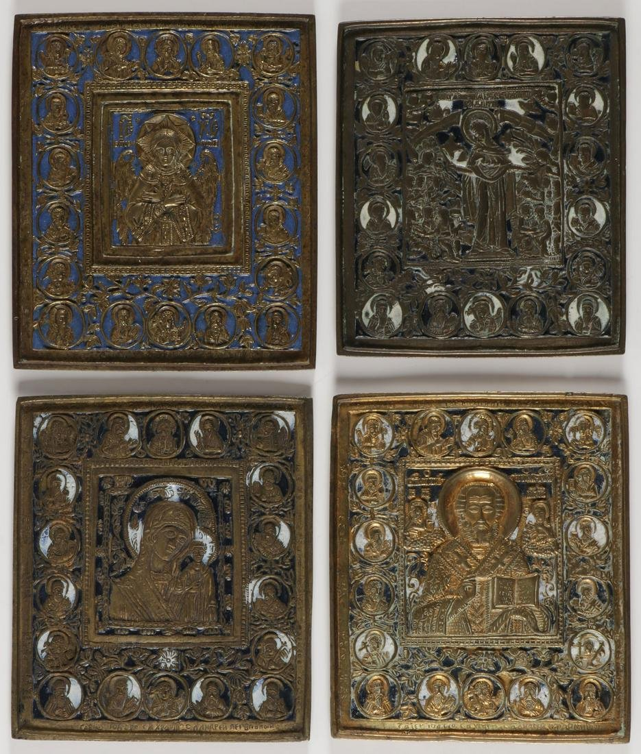 FOUR RUSSIAN ENAMELED ICONS, 19TH CENTURY