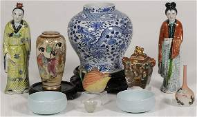 AN ASIAN PORCELAIN AND CERAMIC GROUP