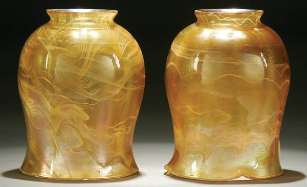 2: A PAIR OF TIFFANY FAVRILE ART GLASS SHADES
