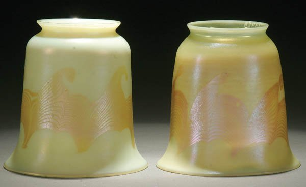 3: A FINE PAIR OF TIFFANY FAVRILE ART GLASS SHADES
